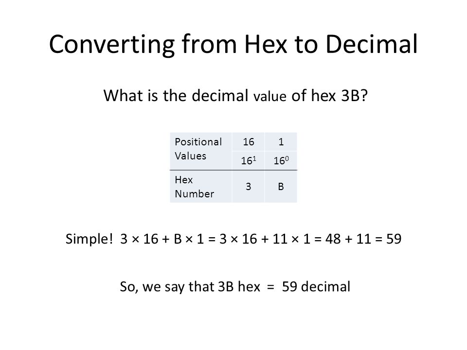Converting from Hex to Decimal