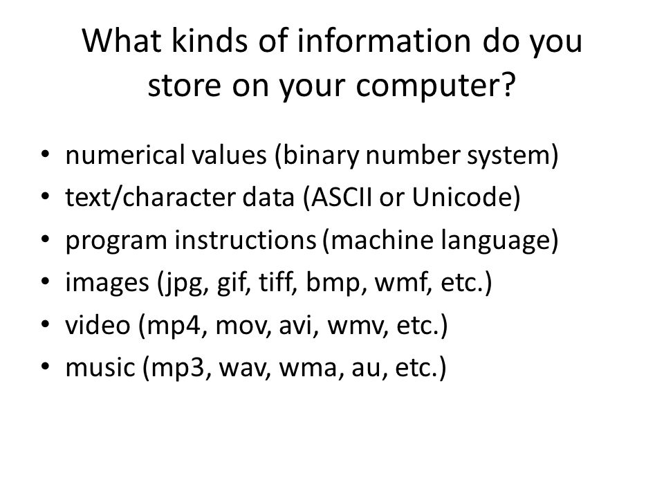 What kinds of information do you store on your computer