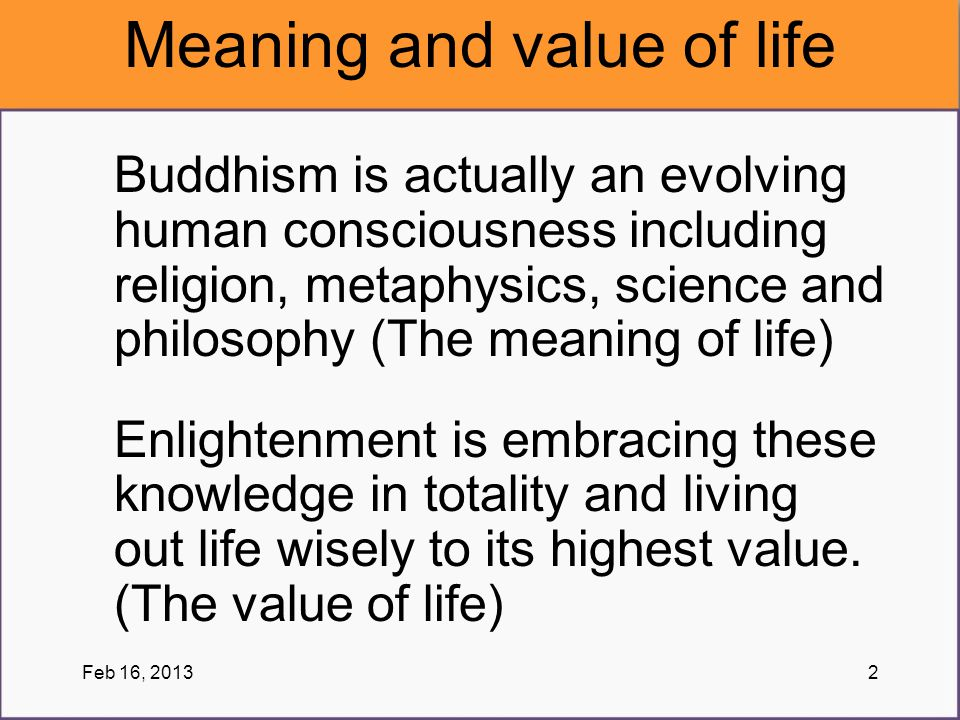 Meaning and value of life