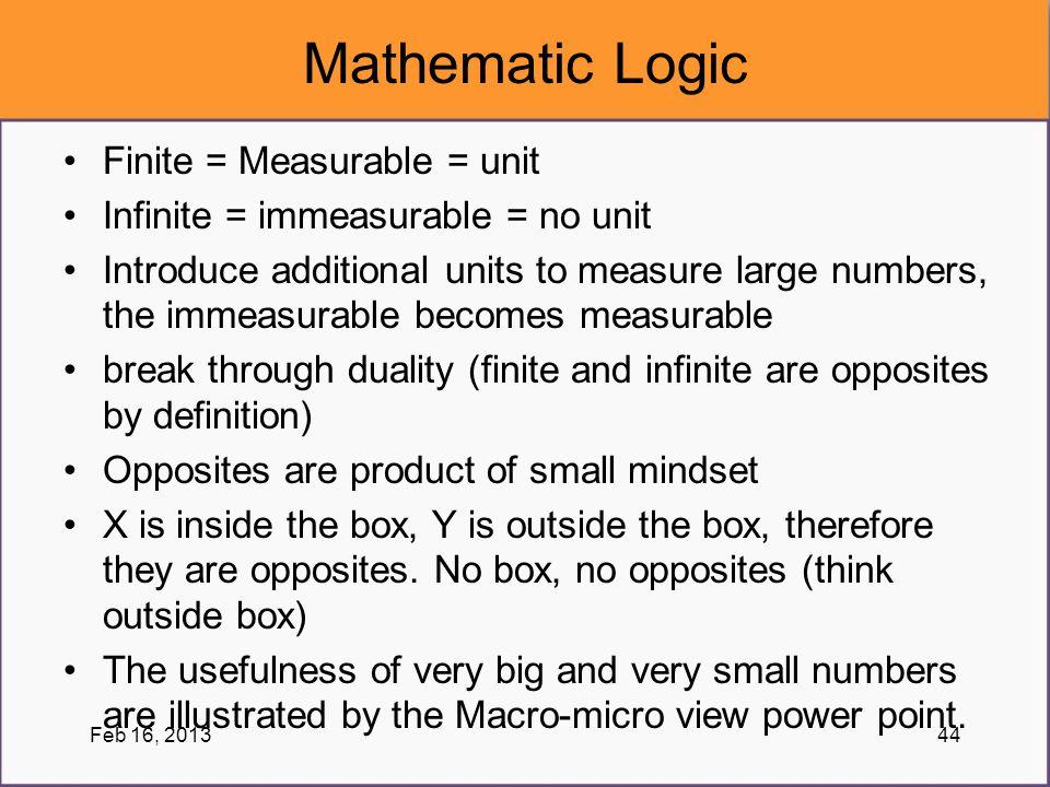 Mathematic Logic Finite = Measurable = unit