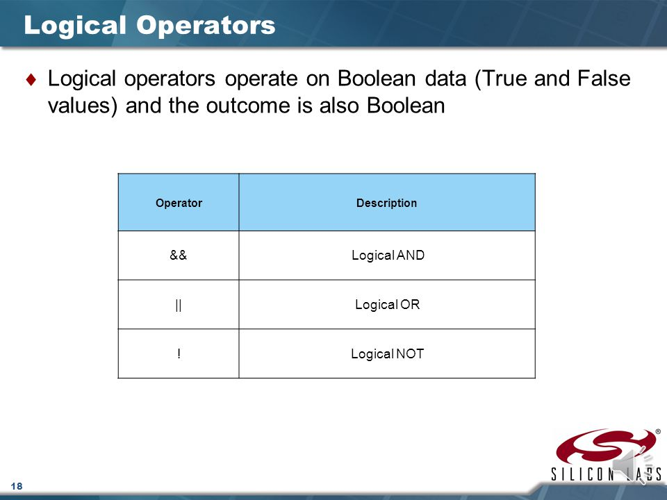 Logical Operators Logical operators operate on Boolean data (True and False values) and the outcome is also Boolean.
