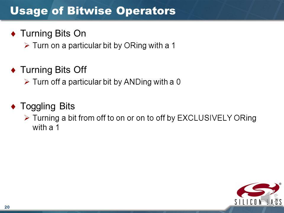 Usage of Bitwise Operators