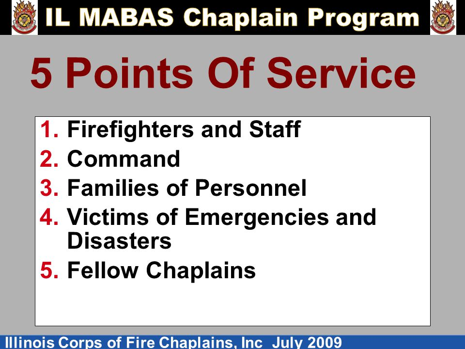 5 Points Of Service Firefighters and Staff Command