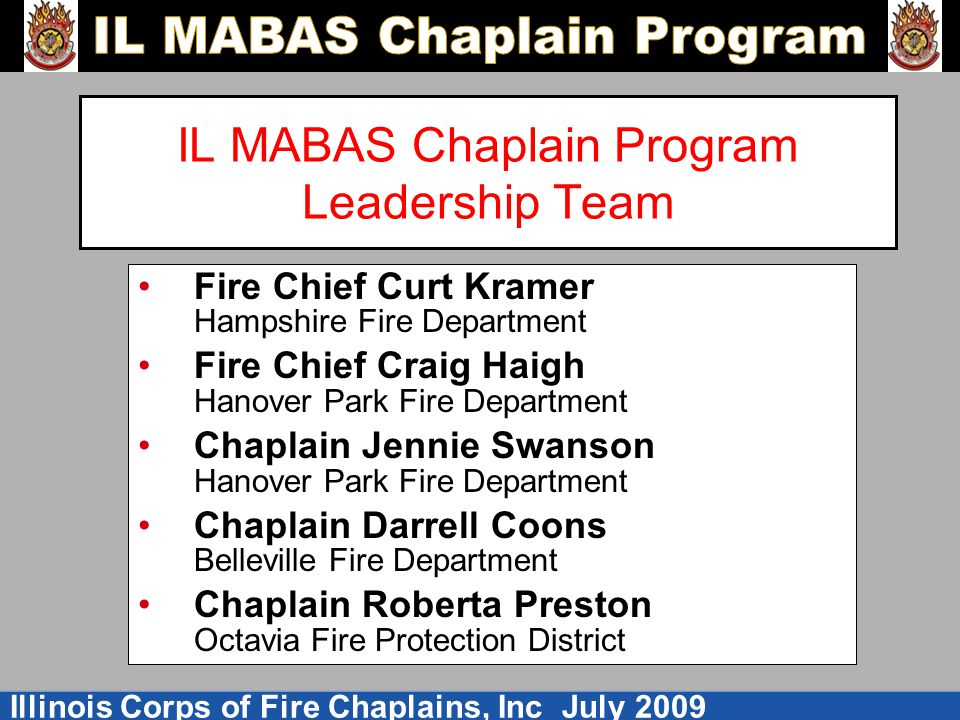 IL MABAS Chaplain Program Leadership Team