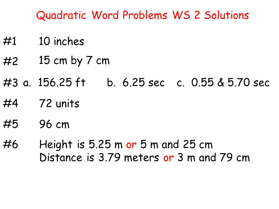 Quadratic Word Problems WS 2 Solutions
