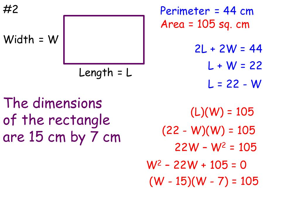 The dimensions of the rectangle are 15 cm by 7 cm