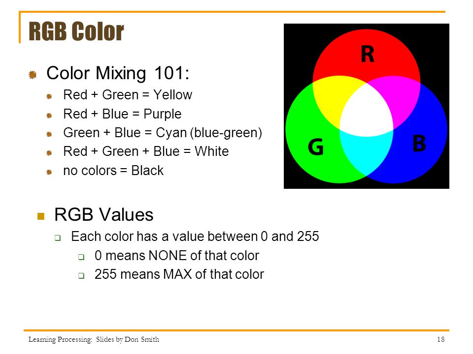 RGB Color Color Mixing 101: RGB Values Red + Green = Yellow