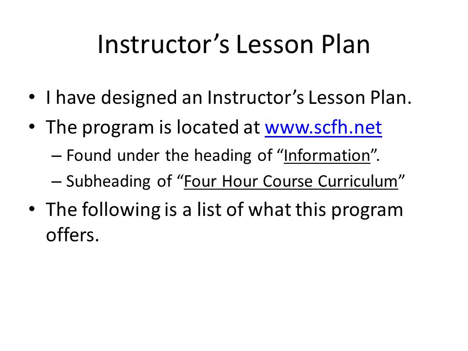 Instructor's Lesson Plan