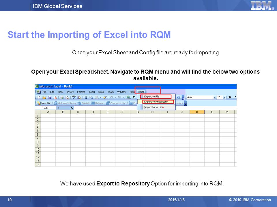 Start the Importing of Excel into RQM