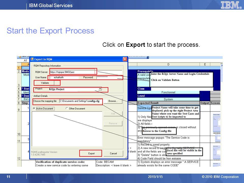 Start the Export Process