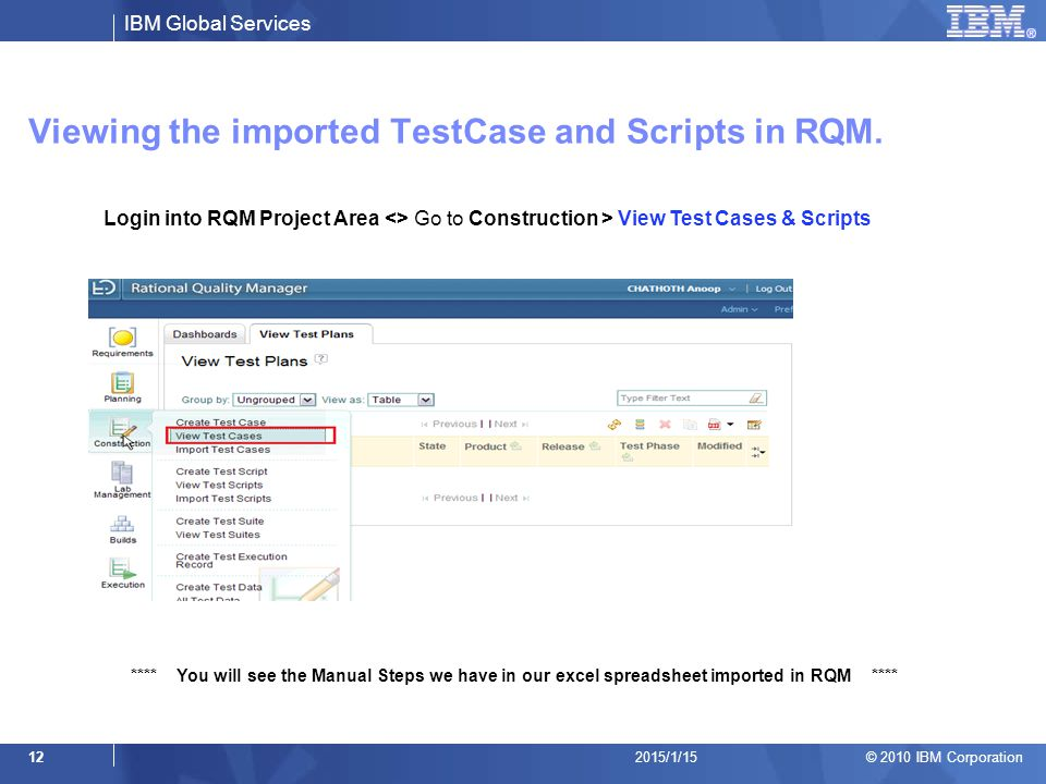 Viewing the imported TestCase and Scripts in RQM.