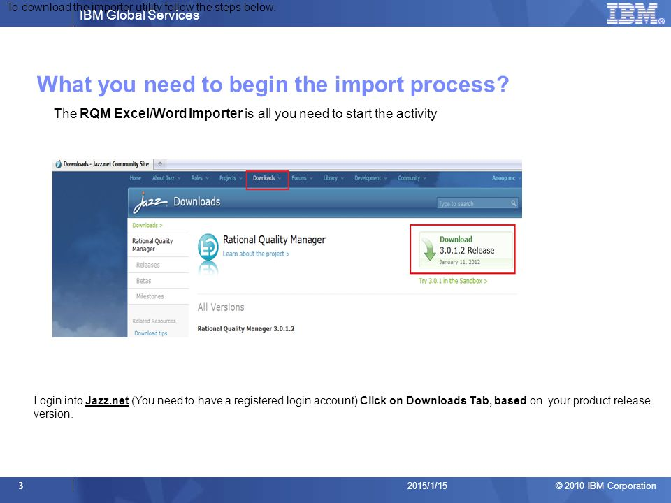 What you need to begin the import process