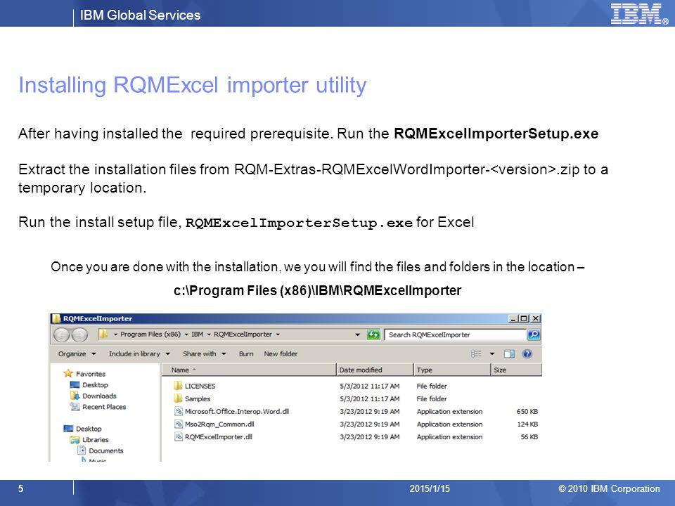 Installing RQMExcel importer utility