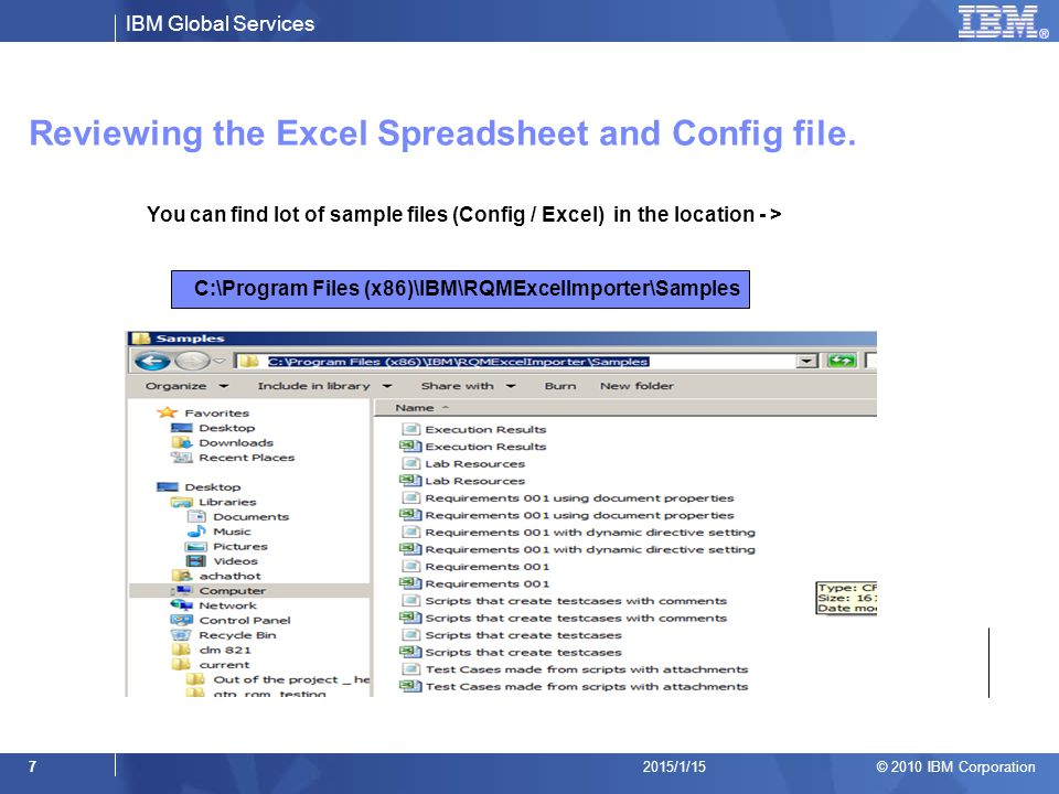Reviewing the Excel Spreadsheet and Config file.