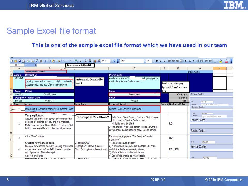 Sample Excel file format