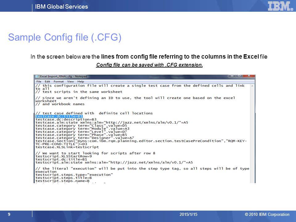 Sample Config file (.CFG)