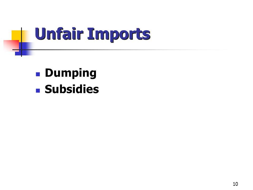 Unfair Imports Dumping Subsidies