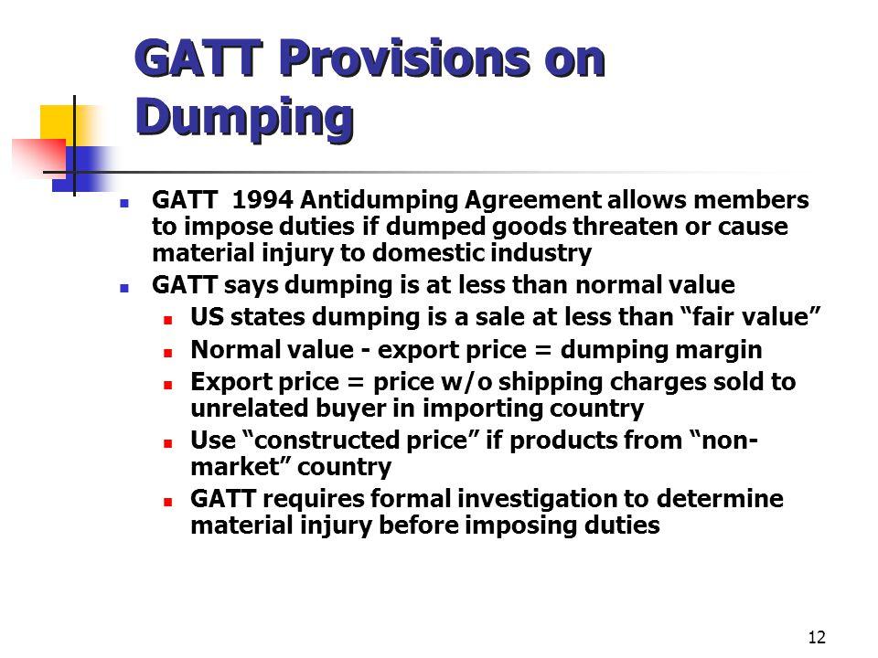 GATT Provisions on Dumping