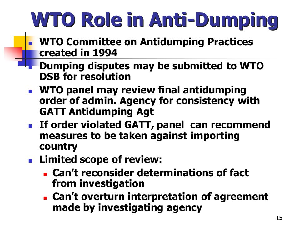 WTO Role in Anti-Dumping