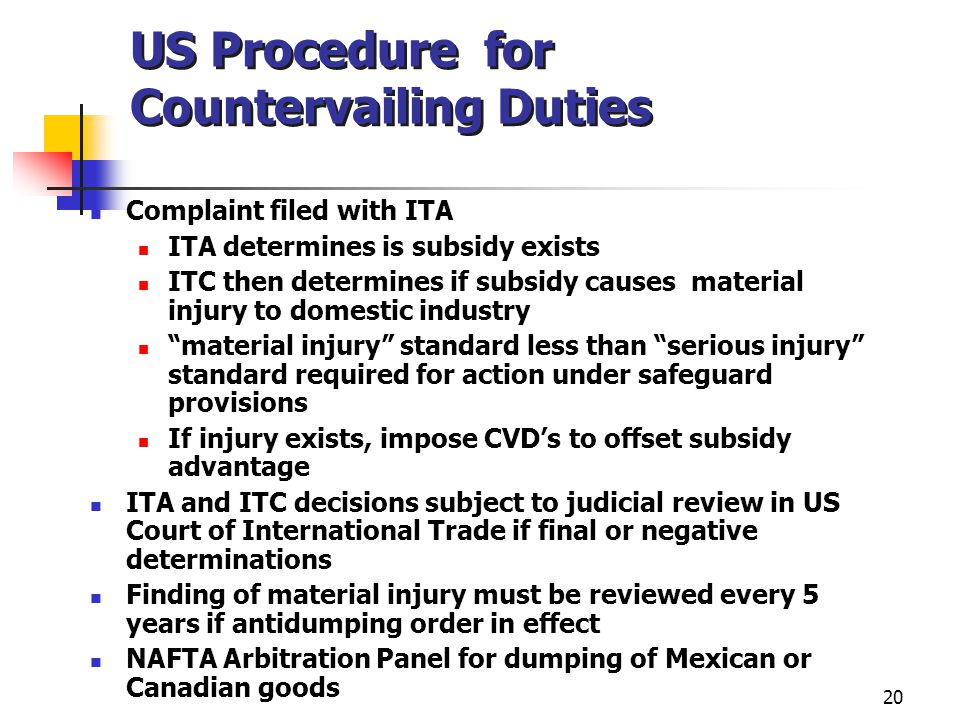 US Procedure for Countervailing Duties