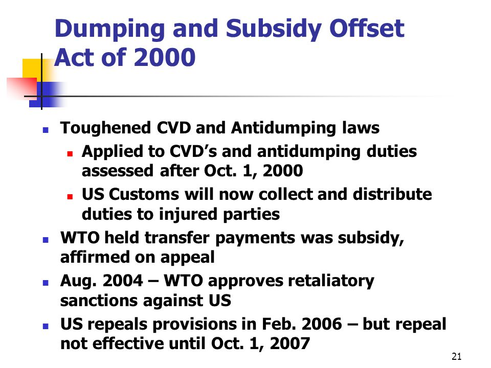 Dumping and Subsidy Offset Act of 2000