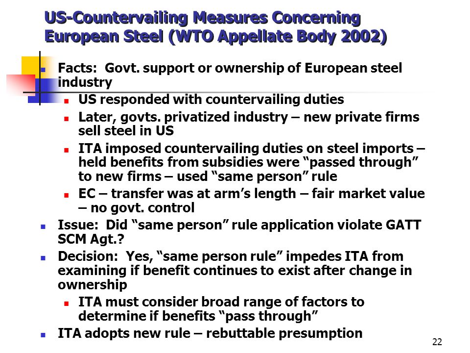 US-Countervailing Measures Concerning European Steel (WTO Appellate Body 2002)
