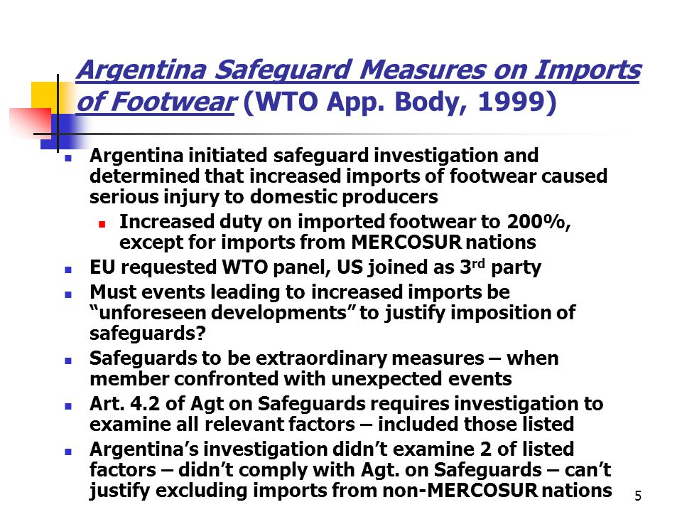 Argentina Safeguard Measures on Imports of Footwear (WTO App
