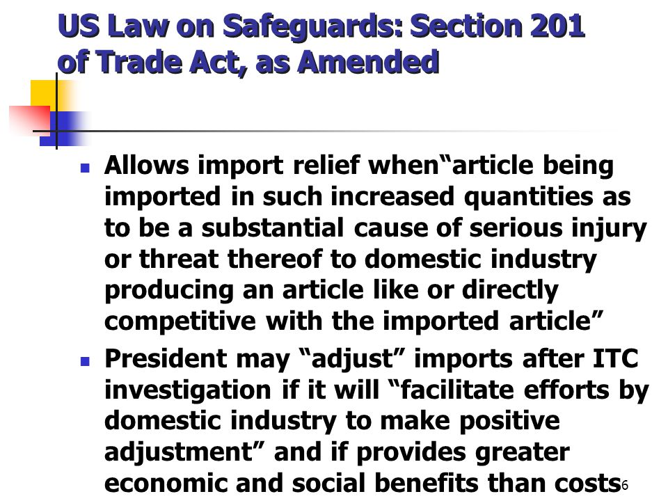 US Law on Safeguards: Section 201 of Trade Act, as Amended