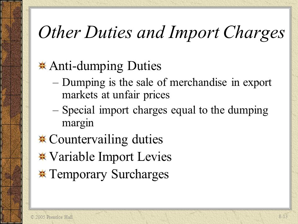 Other Duties and Import Charges