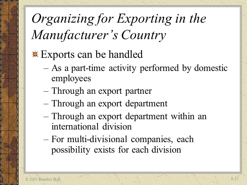 Organizing for Exporting in the Manufacturer's Country
