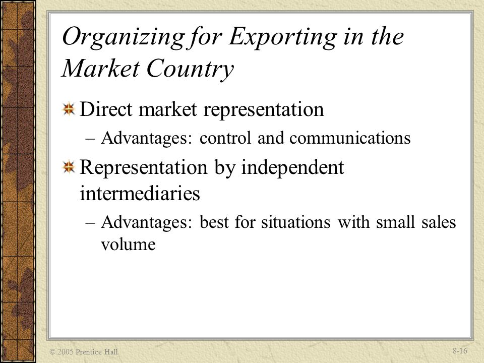 Organizing for Exporting in the Market Country