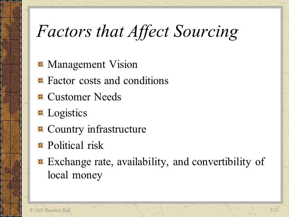 Factors that Affect Sourcing