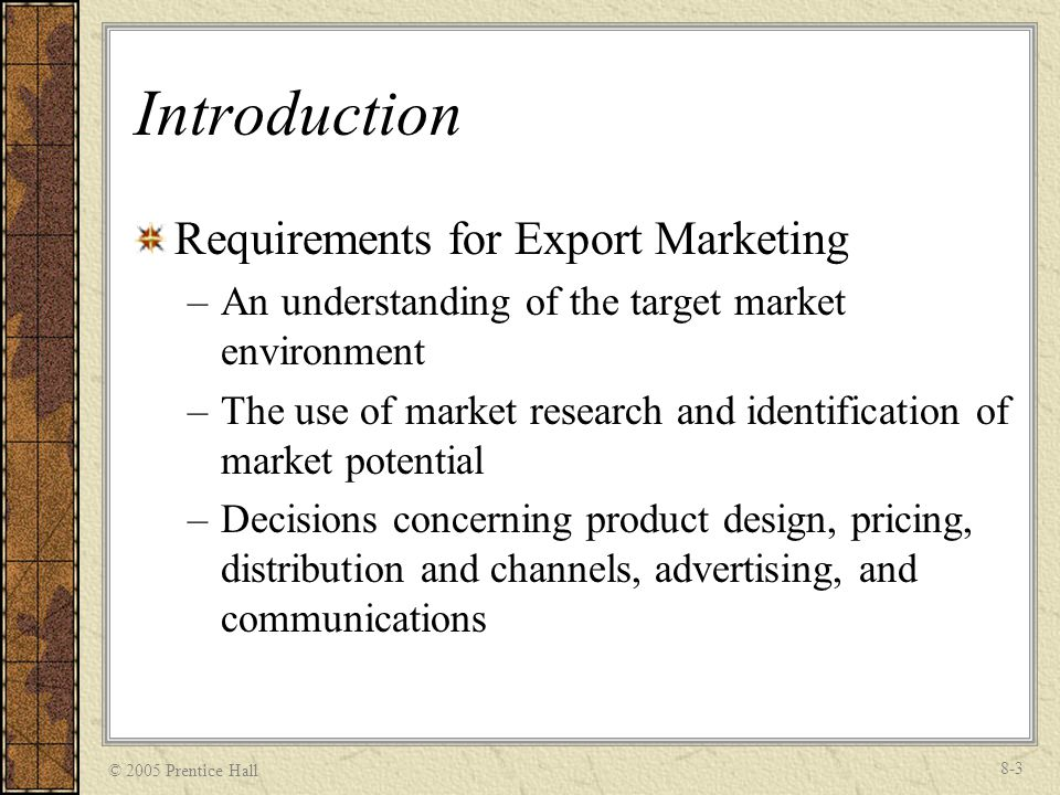 Introduction Requirements for Export Marketing