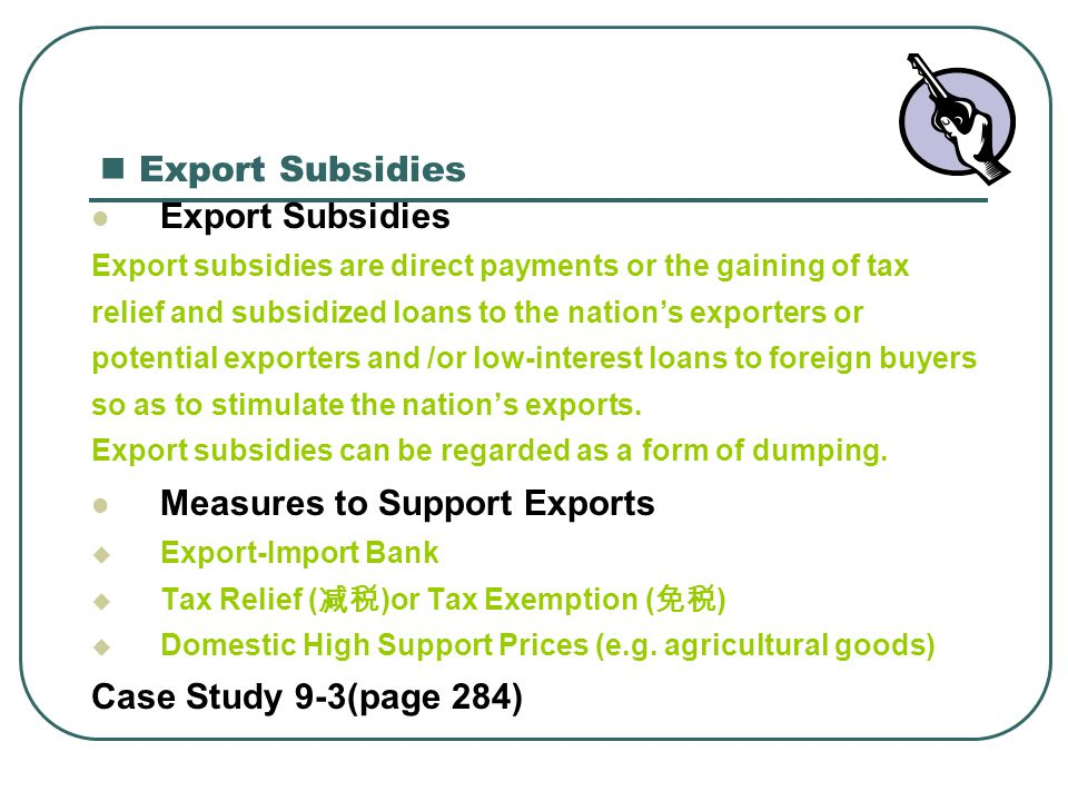 Measures to Support Exports