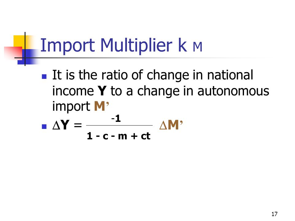 Import Multiplier k M It is the ratio of change in national income Y to a change in autonomous import M'