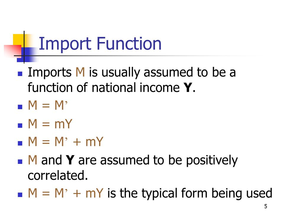 Import Function Imports M is usually assumed to be a function of national income Y. M = M' M = mY.