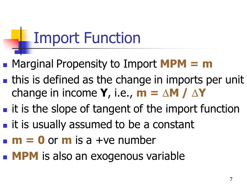 Import Function Marginal Propensity to Import MPM = m