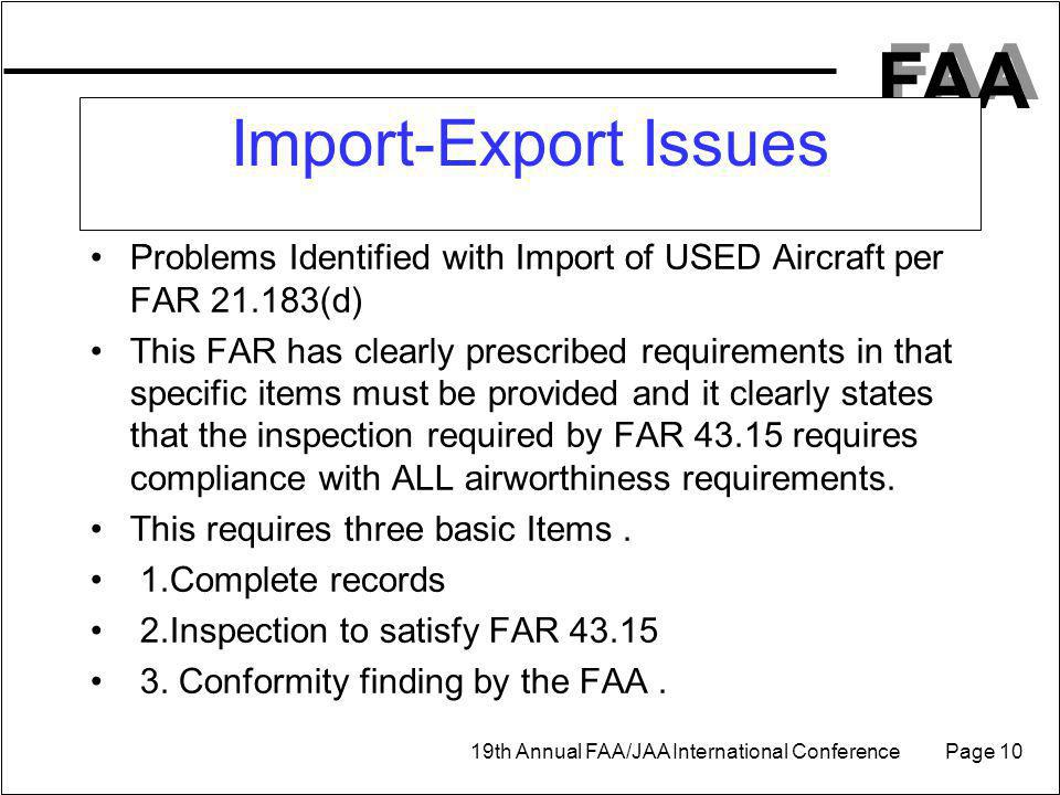 Import-Export Issues Problems Identified with Import of USED Aircraft per FAR 21.183(d)
