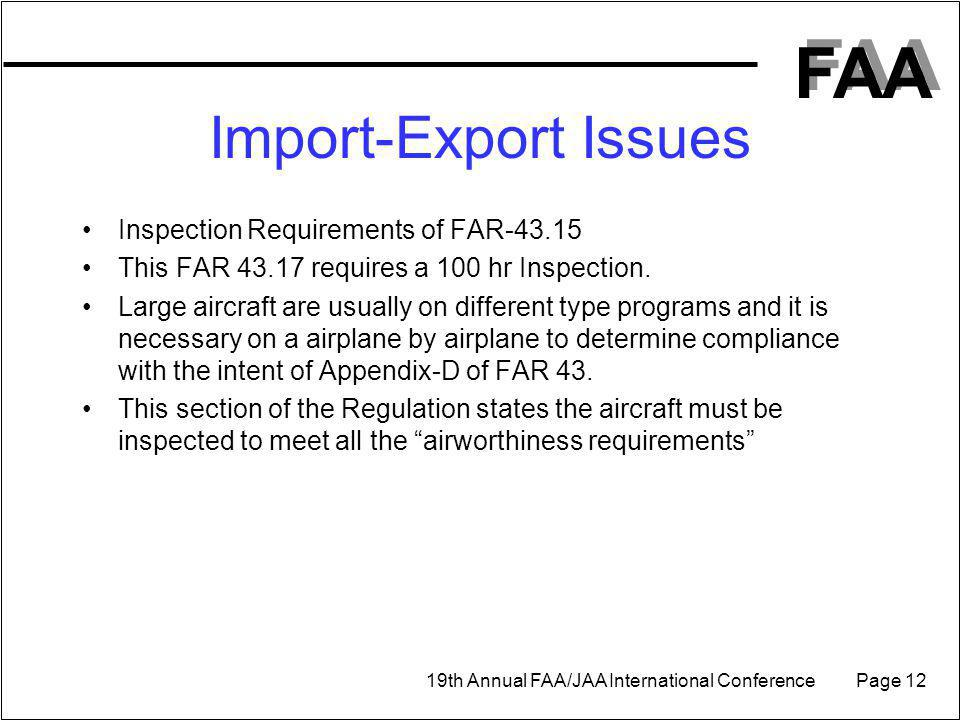 Import-Export Issues Inspection Requirements of FAR-43.15