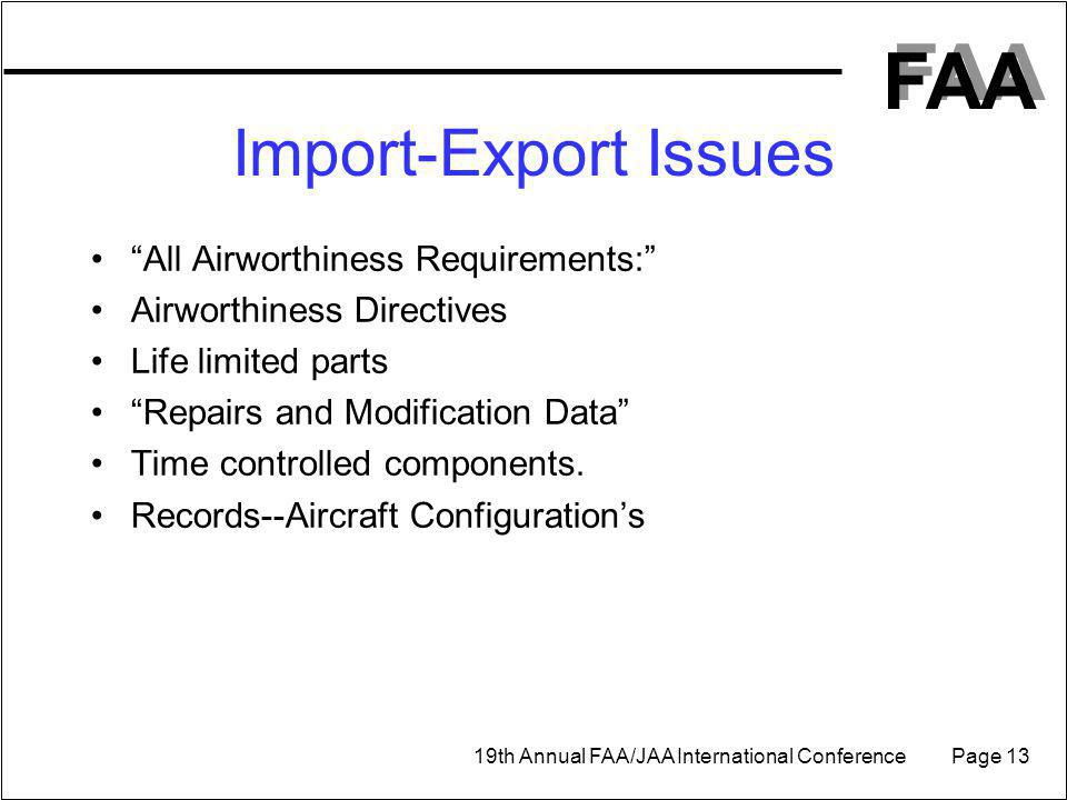 Import-Export Issues All Airworthiness Requirements: