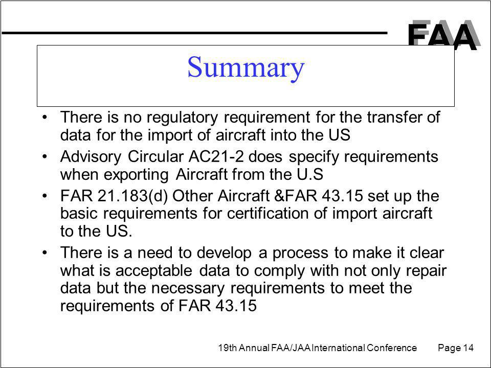 Summary There is no regulatory requirement for the transfer of data for the import of aircraft into the US.