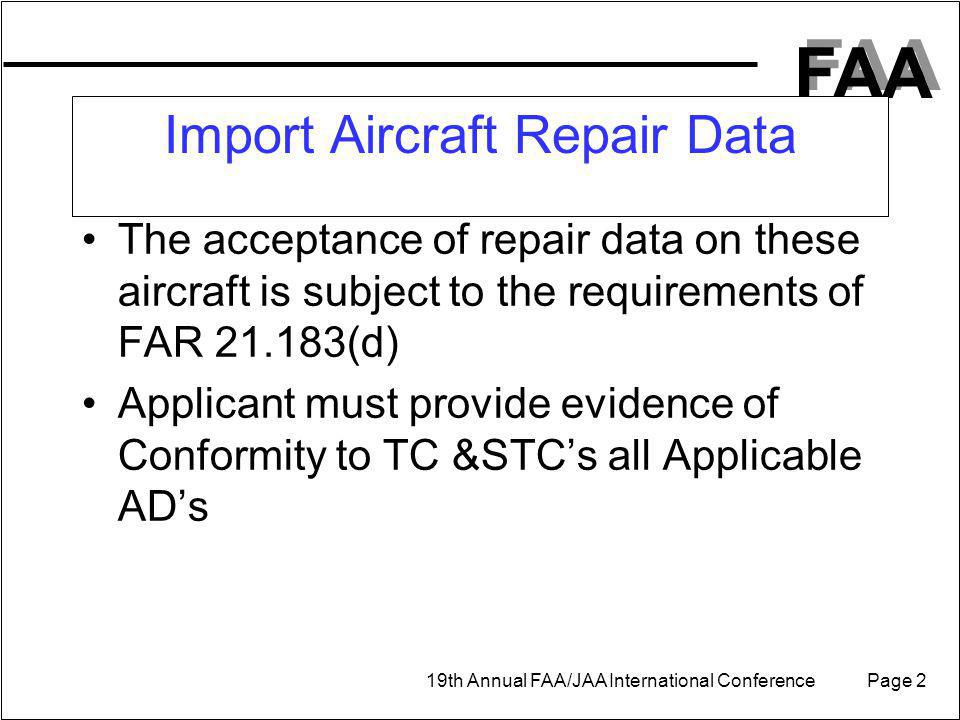 Import Aircraft Repair Data