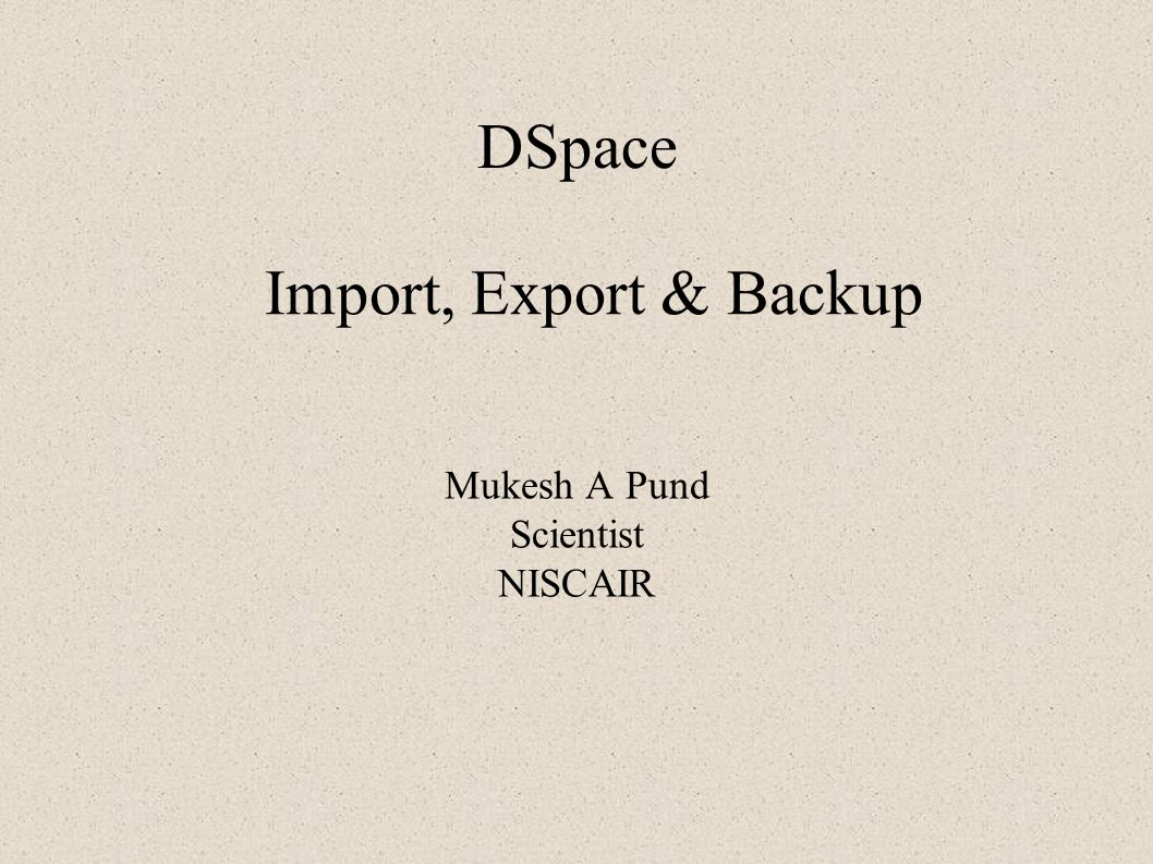Mukesh A Pund Scientist NISCAIR