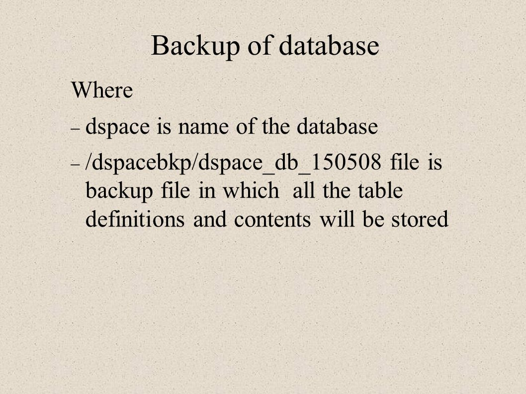 Backup of database Where dspace is name of the database