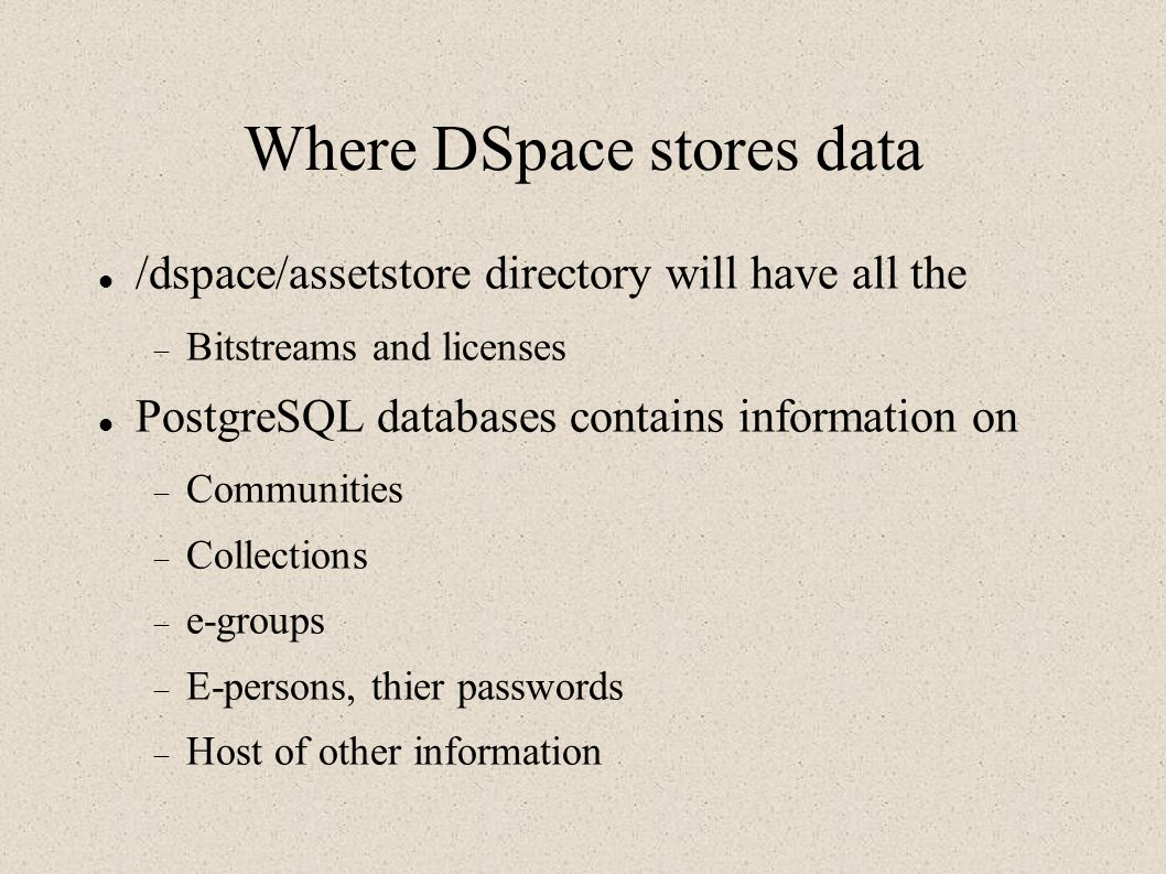 Where DSpace stores data