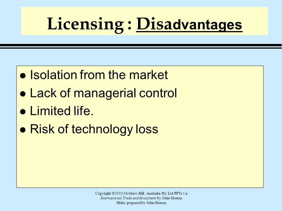 Licensing : Disadvantages