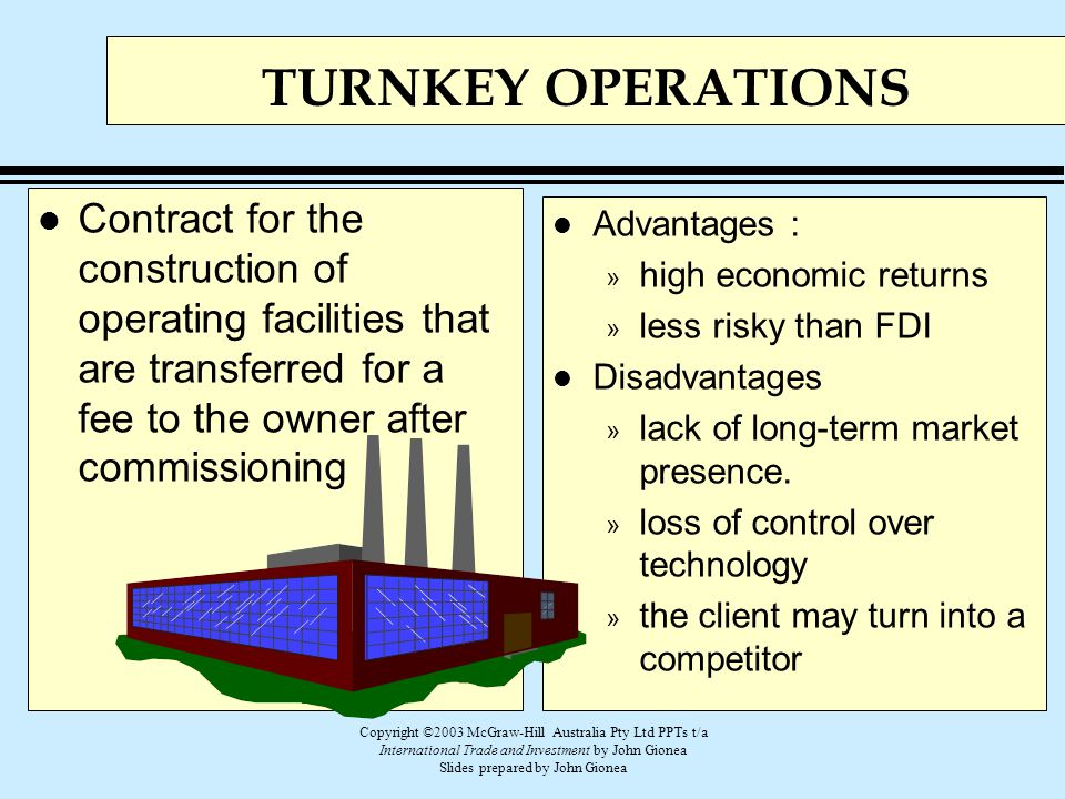 TURNKEY OPERATIONS Contract for the construction of operating facilities that are transferred for a fee to the owner after commissioning.