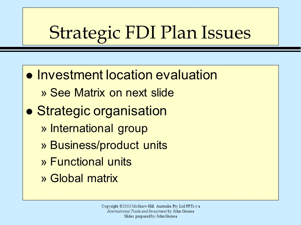 Strategic FDI Plan Issues