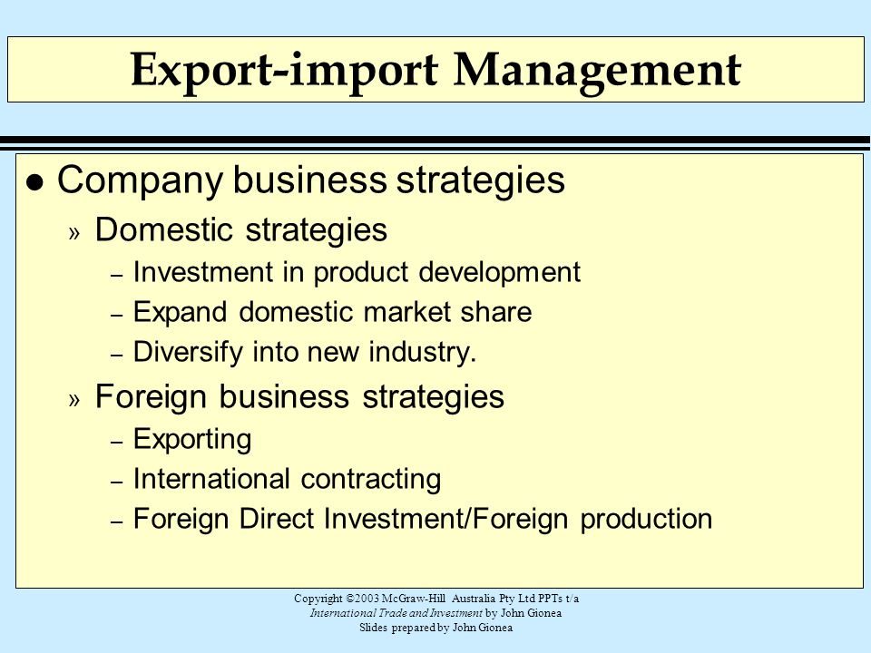 Export-import Management