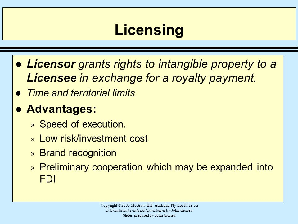 Licensing Licensor grants rights to intangible property to a Licensee in exchange for a royalty payment.